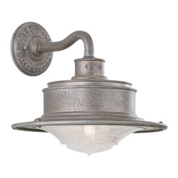 """Troy - South Street 10 1/4"""" High Outdoor Galvanized Wall Light - A rustic turn-of-the-century look is captured in this new lighting collection which features a galvanized steel finish over hand-forged and cast iron. Industrial lettering on the wall plate and antique pressed prismatic glass adds to the vintage look. Wall mount style. Takes one 60 watt bulb (not included). 10 1/4"""" high. 9 3/4"""" wide. Extends 10 1/2"""" from the wall.  Galvanized steel finish.  Takes one 60 watt bulb (not included).  10 1/4"""" high.  9 3/4"""" wide.   Extends 10 1/2"""" from the wall."""