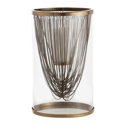 Arteriors - Worth Hurricane, Brass - This beautifully designed hurricane lantern lets you set the mood with style. A curtain of either nickel or brass chains drapes within a silo of glass to fascinating effect with candlelight.