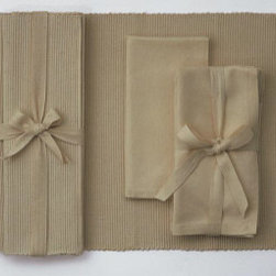 "Origin Crafts - Sand ribbed placemats set of 4 (four sets left) - Sand Ribbed Placemats Set of 4 Napkins and Placemats sold separately. Sets of four tied together w/matching twill tape. 100% cotton. machine wash cold water; tumble dry low. Dimensions: Placemats - 14.5"" x 19"" By Tag Ltd. - Tag Ltd. is a supplier of decorative accessories. Ships within Five Business"