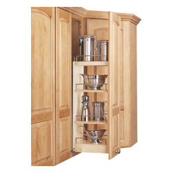 """Rev-A-Shelf - Rev-A-Shelf 448-WC-5C 5"""" Wall Cabinet Pullout Organizer w/ Adjustable Shelves - The 5"""" Maple Wall Cabinet Pullout Organizer with Wood Adjustable Shelves features technologically advanced patented """"tri-slides"""" for complete stability. It also features patented door mount brackets providing up to 5 inches of flexibility for trouble-free installation on any door style. The Rev-A-Shelf 448-WC-5C includes three adjustable shelves with chrome rails and offers up to five surface areas by utilizing the top of the unit to provide another shelf for taller 36"""" or 42"""" applications. Physical specifications: 5"""" W x 10-3/4"""" D x 26-1/4"""" H. Please make sure that your wall cabinet has an minimum opening of at least 5-1/8"""" W x 10-7/8"""" D x 26-3/8"""" H."""