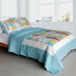 Blancho Bedding - [Azure Sky] Cotton 3PC Vermicelli-Quilted Patchwork Quilt Set (Full/Queen Size) - Features intricate machine/hand-stitching patterns and beautiful prints with timeless appeal.Creates a cozy and inviting atmosphere and is sure to transform the look of your bedroom.Gives the finishing touch to your room decor; Enjoy a good night's sleep in a luxurious quilt set.Pre-washed, pre-shrunk, reversible and vermicelli-quilted for elegance and durability.Soft materials and high tenacity; Fine and concentrated stitches; Machine washable and dryable.
