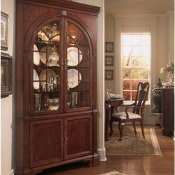"""American Drew - American Drew Cherry Grove Corner China Cabinet Multicolor - ADL4555 - Shop for China from Hayneedle.com! Soften sharp angles while providing an elegant display with the American Drew Cherry Grove Corner China Cabinet. This stunning piece fits perfectly in any corner and features a refined look with subtle details. The traditional style of this cabinet showcases a combination of gentle angles and dramatic curves. Two arched doors enclose three adjustable glass shelves that features plate grooves to display your items at just the right angle. Interior touch lighting provides perfect illumination. Below the cabinet double doors feature burl inlay and open to reveal ample storage and an adjustable shelf. Overall dimensions: 48W x 21D x 84H inches. Features: Corner design Double doors on both hutch and base Hutch: 3 adjustable glass shelves with plate grooves Base: 1 adjustable wood shelf Interior lighting Made from Alder woods and Cherry veneers Arched glass door fronts About American DrewFounded in 1927 American Drew is a well-established leading manufacturer of medium- to upper-medium-priced bedroom dining room and occasional furniture. American Drew's product collections cover a broad variety of style categories including traditional transitional and contemporary. Their collections range from the legendary 18th-century traditional """"Cherry Grove """" celebrating its 42nd year of success to the extremely popular """"Bob Mackie Home Collection """" influenced by the world-renowned fashion designer Bob Mackie. """"Jessica McClintock Home"""" features another beloved designer bringing unique style to an American Drew line. American Drew's headquarters are located in Greensboro N.C. Their products are distributed through thousands of independently owned retailers throughout the United States and Canada and around the world."""