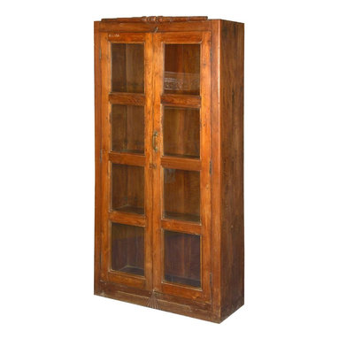 "Sierra Living Concepts - Sante Fe Teak Wood Glass Door Display Armoire Bookcase - Define your own space and expand your storage options with our Classic Sante Fe 71"" Armoire. This hand crafted hardwood display case is built with solid teak wood, a premium wood sought out for heirloom quality furniture."