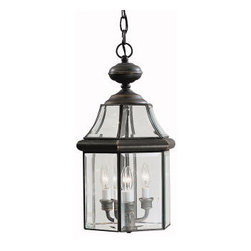 Kichler 3-Light Outdoor Fixture - Olde Bronze Foyer/Hall Lanterns - Three Light Outdoor Fixture. The crystal palace collection proves that even the most basic of shapes can be formed into beautiful lighting fixtures. This 3-light pendant measures 11 in diameter and features our olde bronze finish with clear beveled glass panels. It uses 60-watt bulbs.