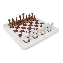 "Marble 'n things - 16"" Beige Marble & Red Onyx Alabaster Chess Set - Free Velvet Gift Box - Stunning 16"" x 16"" marble chess set delicately hand carved pieces. King is 3 1/2"" tall and pawns are 2.25""."