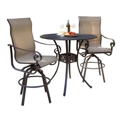 Lakeview Outdoor Designs - La Salle 2-Person Sling Patio Bar Set - High quality and luxurious style meets poolside comfort in the La Salle collection from Lakeview Outdoor Designs. This 2-person patio bar set features extra high and curved backs that provide upper and lower back support while having drinks on the patio. The bar stools have a heavy-duty swivel mechanism so you can smoothly swivel 360 degrees. The heavy-duty, polyester tan sling is PVC coated to resist fading and mildew, and has double stitched seams to hold weight up to 350 pounds. The 42-inch round bar table features a basket weave, cast aluminum top with a 1 7/8 inch umbrella hole so you can add a market umbrella of your choice. The bronze, powder-coated and rust-resistant aluminum frame is capped on the bottom with non-marking leveling feet for support and held together with stainless steel hardware for durability. Dimensions (in inches): Bar Table: 42 W X 42 D X 39 H. Bar Stool: 24 W X 26 X 52. Seat Height: 30. Arm Height: 36.