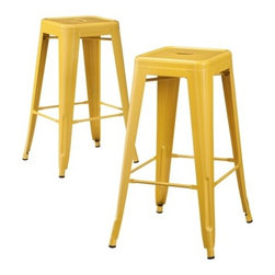 Carlisle Metal Bar Stools, Yellow, Set of 2 - Bright and cheery, these fun metal bar stools will bring an industrial-chic look to a contemporary home.