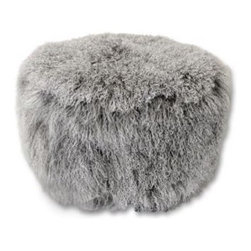 Tibetan Lamb Pouf, Gray - Forget leather, this is the new type of pouf!