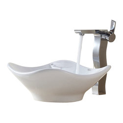 Kraus - Kraus C-KCV-135-14600CH White Tulip Ceramic Sink and Sonus Faucet - Add a touch of elegance to your bathroom with a ceramic sink combo from Kraus