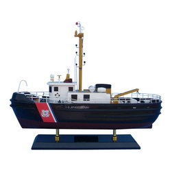 "Handcrafted Model Ships - USCG Harbor Tug 16"" - Wooden US Coast Guard Boat - Sold fully assembled"