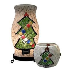 Dale Tiffany - Dale Tiffany Xmas Combo Accent Lamp and Votive, Black - TAL100855 - Black Finish