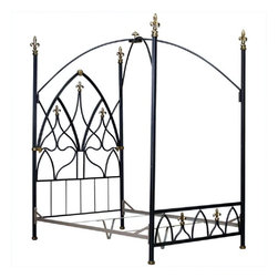 Corsican - Custom Gothic Nights Bed Antique Silver Vein, Queen - Corsican has been in business over 40 years. Their entire focus is making wrought iron furniture. Many of their skilled craftsman are second generation.