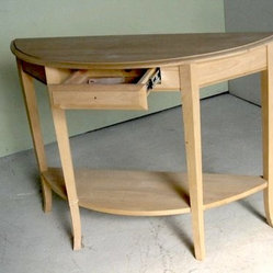 Solid alder Demilune Table With Shelf