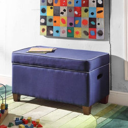 Kinfine - Juvenile Purple Storage Bench - Free up space and add contemporary style to your home with this convenient storage bench.This piece is as functional as it is practical with two color options, cut out side handles and a double safety hinged lid.