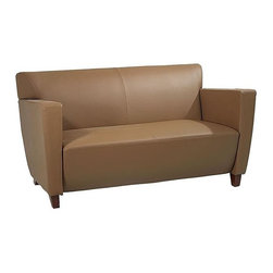 Office Star - Taupe Leather Love Seat with Thick Padded Sea - Made of Leather/Wood. Thick Padded Seat and Back. Taupe Leather. Cherry Finish Legs. Some assembly required. Back Dimension: 48 in. W x 16 in. in. H. Seat Dimension: 48 in. W x 20 in. D. Overall Dimension: 58 in. W x 33.5 in. L x 30.75 in. H