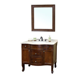 Bellaterra Home - 38.2 Inch Single Sink Vanity-Wood-Walnut - A distinctive style featuring a deep walnut finish, ample storage space behind two door panels and four drawers. A perfect vanity to compliment your home's decor. Solid wood endures durability and multi-layer of protective coat to ensure water proof wood finish to withstand the humidity in bathroom. Vanity dimension: 38.2 W x 23.6 D x 36 H