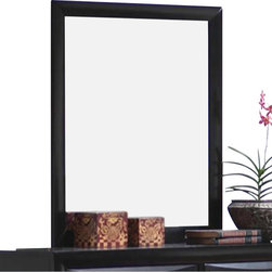 Coaster - Coaster Briana Vertical Mirror in Glossy Black - Coaster - Mirrors - 200704 - This sleek contemporary mirror will add light and depth to your master bedroom. The simple chamfered frame will add sophistication to your dresser. Pair with the dresser from this collection for a harmonious look in your relaxing oasis.Wood veneers and solids constructionGlossy Black finishBrushed chrome metal knobsClean lines chamfered trim chambered drawer fronts block feetContemporary style