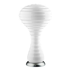 Verpan - Panton New Wave Lamp - Ride the wave of design inspiration with this table lamp designed by Verner Panton. Its mushroom-like shape is made of a glossy, opal-white glass, ensuring a soft tone. Mount it on a desk, end table or credenza in your modern or contemporary home and let the light in.