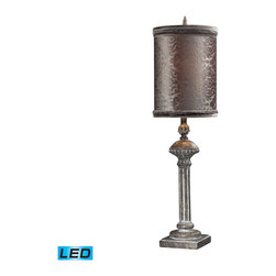 Dimond Lighting - Dimond Lighting Norfolk Distressed Grey Table Lamp w/ Grey Embossed Velvet Shade - Distressed Grey Table Lamp w/ Grey Embossed Velvet Shade - LED Offering Up To 800 Lumens belongs to Norfolk Collection by Dimond Lighting Lamp (1)