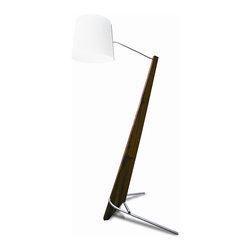 "Cerno - Silva Giant Lamp - Silva Giant Lamp  by Cerno  At A Glance:       Using energy-efficient LEDs and rich Walnut wood, the sleek, modern Silva Giant Lamp makes its presence felt - it's a huge version of the Silva Table Lamp. This playfully large floor lamp stands out in a crowd for its good looks as much as for its size. Oiled Walnut with linen shade.  What's To Like:   The Silva Giant Lamp is perfect for large spaces with high ceilings. It draws attention to the dramatic architecture, while making the room seem cozier. Furniture can get ""lost"" in large spaces; this lamp's size makes sure that won't happen.  Features: Overall dimensions: 84"" h with 16"" shade diameterSolid oiled Walnut wood bodyAluminum leg and accentsLinen shadeFully dimmable with no flickerLight output: 1150 lumensLight color: 2700 degrees K (warm)LED power consumption: 20 wattsHandcrafted; wood grain will varyMade in California, USA"