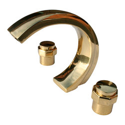 """Renovators Supply - Faucets Bright Solid Brass 3 Piece C-Style Bath Tub Faucet - Tub Faucets: This brass three-piece tub faucet set measures 6 3/4"""" high with a 7 1/2"""" projection.  Features ceramic washerless stem assembly.  Polished and lacquered."""