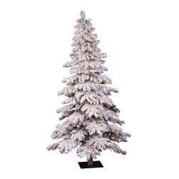 "Vickerman - Flocked Spruce DuraL 150CL 358T (4' x 29"") - 48"" X 29"" Flocked Spruce Alpine with Natural Wood Trunk with 358 Tips and 150 Clear Lights and includes Metal Stand"