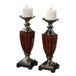 Uttermost - Bay Ceramic Candleholders, Set of 2 - Pillars of strength. These shapely candleholders are made of ceramic with a rich, burnt russet glaze. Place them on a console, mantel, dining table — or wherever else you'd like to enjoy the soft flicker of candlelight.