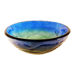 Novatto - MARE Blue, Yellow, and Green Swirled Round Glass Vessel Sink, 16.5 Inch Diameter - The Mare is a round single layer vessel constructed of high tempered glass in a swirled pattern of blue, yellow, and green hues. This vessel will add a splash of color to any bath. Novatto uses advanced technology, including computerized glass processing, to produce unique glass basins with unmatched structural integrity and longevity. Internal testing has found these glass vessels to be very durable and forgiving. Items such as toothbrushes or small jewelry should not scratch the surface. For best cleaning results, a soft cloth with mild soap and water or a non-abrasive glass cleaner is recommended. Made with the highest standards of quality and creative design, Novatto sinks add art and function to any bath or powder room.