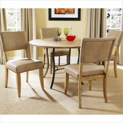 """Hillsdale - Hillsdale Charleston 5-Piece Round Wood Top Dining Set with Parsons Chairs - Hillsdale - Dining Sets - 4670DTBC4 - Hillsdale�s Charleston collection beautifully combines a rustic Desert Tan wood finish with a dark gray metal and offers a multitude of choices to create the perfect dining group for your home. The parson�s chair is traditional in design and combines the rustic Desert Tan finish with the brown faux leather seat. The simple round table features a 48"""" diameter wood top with flared metal legs."""