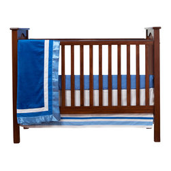 "Simplicity Blue - Infant Set (3pc no bumper - Let your personality come to life in a room filled with sophistication and style.  Simplicity Blue is nothing too simple for you!  Beautiful hues of blue with white throughout make the most of this set.   This 3pc set includes:  crib bed skirt, crib sheet, and a coordinating medium quilt. Bed skirt repeats our bumper design with lines of white and both color blues in cotton print fabric.   Crib sheet accents this collection in our designer cotton print fabric --  ""Blue Dots"".  Simplicity Blue coordinating quilt is an overall universal quilt like no other.  Soft minky on both sides make this the perfect blanket anytime and anywhere!  Darker blue minky on both sides with accents framed in white and trimmed in our light blue satin trim.  Not only does this quilt coordinate with the entire set you can also enjoy using this outside the crib and for years to come!  SAVE WHEN YOU BUY AS A SET!"