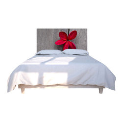 "NOYO - Red Flower Wood Headboard, Queen - Say ""so long"" to your ho-hum headboard and ""hello!"" to a whole new concept in bedroom decor: A cedar frame with a machine-washable slipcover you can change at a whim. Tonight, a lovely red bloom; next week, whatever you dare to dream of."