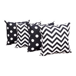 Orien - Black and White Polka Dot and Chevron Black Outdoor Throw Pillow - 4 Pack, 20x20 - Fabric Designer - Orien