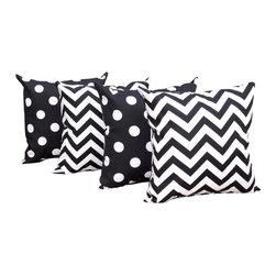 Orien - Black and White Polka Dot and Chevron Black Outdoor Throw Pillow - 4 Pack, 20x20 - Fabric Designer - Orien