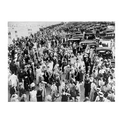 Artehouse Bronx Beach Art Print - 18W x 24H in. - A visual walk back in time. Bronx Beach encapsulates a specific time in history at the Bronx Beach. Bathing costumes full business suits and hats abound in this 24L x 18-inch high limited edition black and white photo. This vintage photograph is printed on quality Somerset Velvet paper and comes ready for framing. A fun gift idea for vintage art collectors.