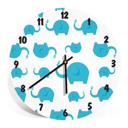 "Nursery Code - Elephants Wall Clock for Kids Room - Boys and Girls Nursery Room, Blue, 11"" - Nursery Wall Clock, cute elephant family- Boys and girls room decor."