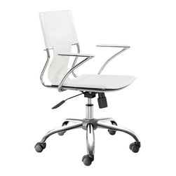 ZUO - Zuo Trafico Office Chair in White (Set of 2) - Work in style and comfort with this sleek office chair as your desk seat. This modern chair features a gleaming chrome frame, a luxe leatherette sling seat, and supportive arm pads with a chrome base. With a fully adjustable height function and wheels to move around the office, you'll feel an ease of your work flow like never before.