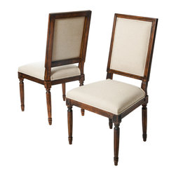 Great Deal Furniture - Martin Dark Wood Frame Khaki Fabric Dining Chairs (Set of 2) - The Martin Dark Wood Dining Chairs are a perfect addition to any room in your home. These chairs not only embellish any dining set, but they also double as a stand alone set for any parlor or living room. The bold fabric paired with the dark wood frame of the chairs creates a unique blend of contemporary style with a colonial inspired elements.
