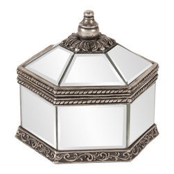 Howard Elliott - Octagonal Mirrored Jewelry Box - This decorative box features an octagonal mirrored body, trimmed with decorative bronze borders sure to add a touch of elegance to any place it sits.