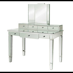 Bungalow 5 - Bungalow 5 Catherine Vanity Desk - BEVELED GLASS: SILVER PULLS