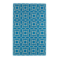Kaleen - Kaleen Glam Collection GLA06-91 5' x 8' Teal - The Glam collection puts the fab in fabulous! No matter if your decorating style is simplistic casual living or Hollywood chic, this collection has something for everyone! New and innovative techniques for a flatweave rug, this collection features beautiful ombre colorations and trendy geometric prints. Each rug is handmade in India of 100% wool and is 100% reversible for years of enjoyment and durability.