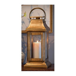 "Dessau Home - Square Lantern in Antique Brass - Made from brass. Made in India. 7 in. L x 7 in. W x 16 in. HValue has always been an essential ingredient at Dessau Home. ""Essentials"" represents a collection of well-appointed yet affordable home furnishings with a unique traditional styling that appeals to most transitional and contemporary home decorating needs."