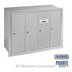 Salsbury Industries - Vertical Mailbox (Includes Master Commercial Lock) - 4 Doors - Aluminum - Vertical Mailbox (Includes Master Commercial Lock) - 4 Doors - Aluminum - Recessed Mounted - Private Access