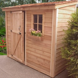 Outdoor Living Today SS84 SpaceSaver 8 x 4 ft. Storage Shed - The Outdoor Living Today SS84 SpaceSaver 8 x 4 ft. Storage Shed could be just what you need to spruce up your garden area. Made with attractive sturdy Western red cedar this tool shed features a mahogany veneer on the interior panels and a cedar shake roof. Plus a fixed window includes a flower box to add a pleasant natural touch. Assembly is a weekend project for one or two people. One-year limited warranty included.DimensionsExterior: 8.1W x 4D x 7.9H feetInterior: 7.6W x 3.4D x 7.7H feetDoor: 2.5W x 6H feet About Cedar WoodCedar wood is lightweight and resistant to both cracking and moisture rot. The oils of this resilient wood guard against insect attack and decay and their distinctive aroma acts as a mild insect repellant. Cedar is a dependable choice for outdoor furniture either as a finished or unfinished wood. Over time unfinished cedar left outdoors will weather to a silvery gray patina. This natural process does not compromise the strength or integrity of the wood.Another great aspect of cedar is its environmental effect - which is minimal. A renewable resource cedar wood emits low greenhouse gases. So rest assured knowing that your beautiful cedar furniture is a green choice too!About Outdoor Living TodayOutdoor Living Today has a simple goal. That goal is to provide the best wood products to the marketplace at the best value. Established in 1974 Outdoor Living Today has a well-earned reputation for making products that are functional durable attractive and affordable. Products are designed so that the average person with limited building skills can assemble them. Gazebos sheds playhouses and pergolas are all uniquely designed and constructed from beautiful Western red cedar.