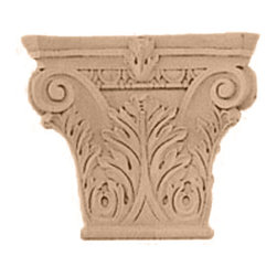"""Ekena Millwork - Medium Floral Roman Corinthian Capital - Lindenwood - 9 1/2""""W x 6""""BW x 3 1/4""""D x 8 3/8""""H Medium Floral Roman Corinthian Capital (Fits Pilasters up to 5 5/8""""W x 1 3/8""""D), Lindenwood. Our appliques and onlays are the perfect accent pieces to cabinetry, furniture, fireplace mantels, ceilings, and more. Each pattern is carefully crafted after traditional and historical designs. Each polyurethane piece is easily installed, just like wood pieces, with simple glues and finish nails. Another benefit of polyurethane is it will not rot or crack, and is impervious to insect manifestations. It comes to you factory primed and ready for your paint, faux finish, gel stain, marbleizing and more."""