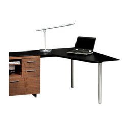 BDI - Sequel Peninsula Desk - Here's a modern peninsula desk that will help you finally turn the corner on your workspace clutter.  A natural walnut, multifunction cabinet lets you file, store and organize. Topped with glass, the sleek black surface gives you ample work space and the strong steel frame has a secret — channels that keep wires hidden and organized.