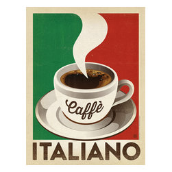 Anderson Design Group - Coffee Collection 'Caffè Italiano' Gallery Print - Create the ideal Italian bistro atmosphere with this classic coffee print. Masterfully produced on gallery-grade paper, this classic Italian design is sure to take you back to Rome, Milan or Florence every time you look at it! Original, hand-illustrated design from Anderson Design Group in Nashville, TN.