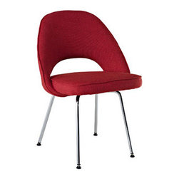 "LexMod - Cordelia Dining Side Chair in Red - Cordelia Dining Side Chair in Red - Participate in renewed growth and actualization with the Cordelia Side Chair. Sit comfortably as an aspirational back and up-surging arms compliment a dual-tone tweed fabric cushion. Sleek chrome legs solidify the progress as unlocked potentials are established with ease. Set Includes: One - Cordelia Side Chair Comfort combined with solid form, Dual-tone upholstered tweed cushion, Chrome legs with non-marking feet Overall Product Dimensions: 17.5""L x 22""W x 33""H Seat Height: 20""H - Mid Century Modern Furniture."