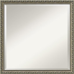Amanti Art - 'Parisian Silver Wall Mirror - Square' 22 x 22-inch - This frame has an ornate pattern strongly accented by a dark pewter patina. It has an antiqued inner slope finishing with a fine beaded pattern on the inner edge.This mirror features an ornate patterned frame strongly accented by a dark pewter patina. There is an antiqued inner slope with fine beaded pattern on the inner edge.