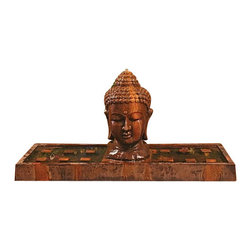 Buddha Head Outdoor Fountain - Large, Absolute - The blocks you see on the basin are candle holders. Place candles on the block to illuminate the head.