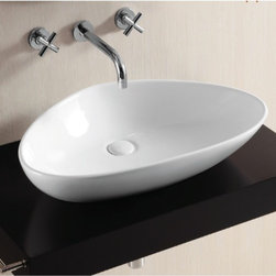 Caracalla - Round White Ceramic Vessel Bathroom Sink - Contemporary design, square white ceramic vessel bathroom Sink without overflow. Chic above counter washbasin comes with no hole. Made in Italy by Caracalla. Made out of white ceramic. Contemporary style. Without overflow. Standard drain size of 1.25 inches.